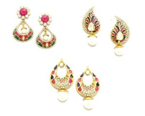 La Trendz Meenakari Dangle Earring Combo Set Of 3