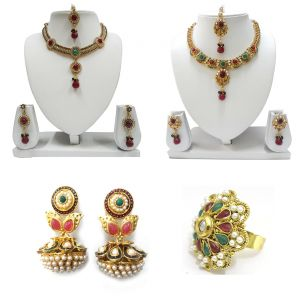La Trendz Ethnic Polki Jewellery Combo For Women - Ltcm17