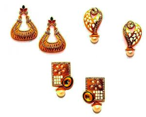 La Trendz Kundan With Meena Earring Combo Set Of 3
