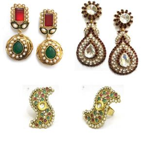 La Trendz Antique Polki Jewellery Combo For Women - Ltcm8