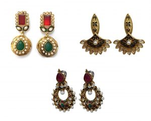 La Trendz Multicolour Earring Combo Set Of Three Designer Traditional Earrings