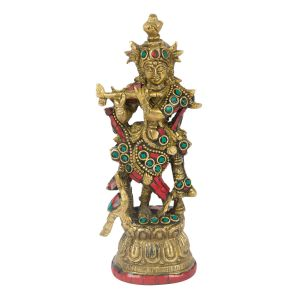 Lord Krishna With Flute Brass Statue With Stone Work