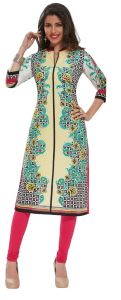 Padmini Unstitched Printed Cotton Kurti Fabrics (product Code - Dtafpuregold3003)