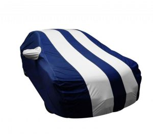 Body covers for cars - Autofurnish Stylish Silver Stripe Car Body Cover For Toyota Corolla Altis - Arc Blue