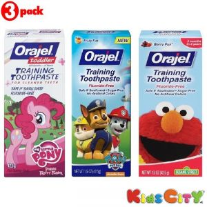 Orajel Training Toothpaste Combo (pack Of 3) - My Little Pony + Paw Patrol + Sesame Street