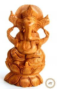Crafts Gallery Wooden Ganesha Carved Statue - 6 Inch