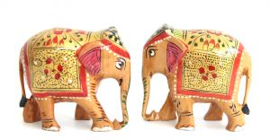 Crafts Gallery Wooden Elephant Painted Statue Set Of 2 - 3 Inch