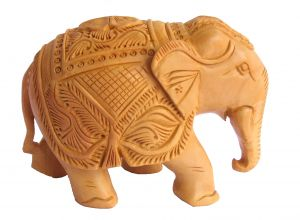 Crafts Gallery Wooden Elephant Carved Statue - 3 Inch