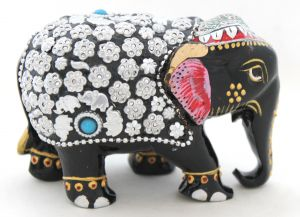 Crafts Gallery Wooden Elephant Statue With Metal Work - 3 Inch