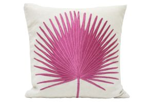 Blueberry Home Cotton Fabric Pink Color Cushion Cover (40x40 Cms)