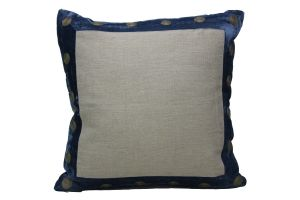 Blueberry Home Linen Fabric Blue Color Cushion Cover (40x40 Cms)