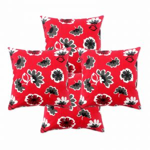 Blueberry Home Cotton Fabric Red Color Cushion Covers Set Of 4 (40x40 Cms)