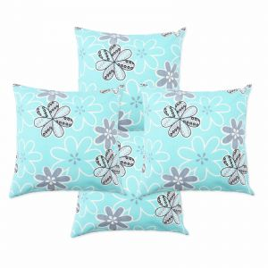 Blueberry Home Cotton Fabric Light Blue Color Cushion Covers Set Of 4 (40x40 Cms)