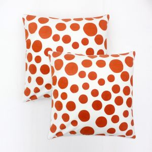 Blueberry Home Orange Color Cotton Fabric Cushion Covers Set Of 02 (40x40 Cms)