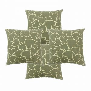 Blueberry Home Cotton Fabric Olive Color Cushion Covers Set Of 4 (40x40 Cms)