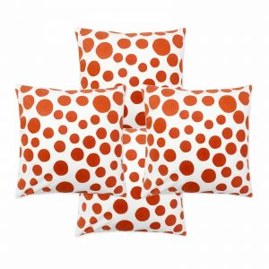 Blueberry Home Cotton Fabric Orange Color Cushion Covers Set Of 4 (40x40 Cms)