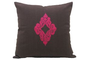 Blueberry Home Cotton Fabric Brown Color Cushion Cover (40x40 Cms)