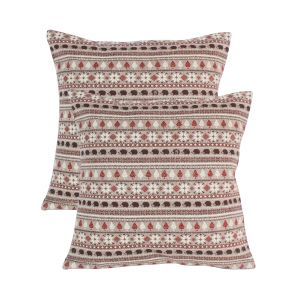Blueberry Home Brown Color Cotton Fabric Cushion Covers Set Of 02 (40x40 Cms)