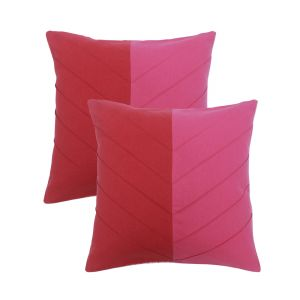 Blueberry Home Pink Color Cotton Fabric Cushion Covers Set Of 02 (40x40 Cms)