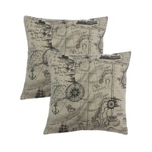 Blueberry Home Beige Color Cotton Fabric Cushion Covers Set Of 02 (40x40 Cms)