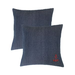 Blueberry Home Dark Blue Color Cotton Fabric Cushion Covers Set Of 02 (40x40 Cms)