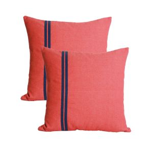 Blueberry Home Peach Color Cotton Fabric Cushion Covers Set Of 02 (40x40 Cms)