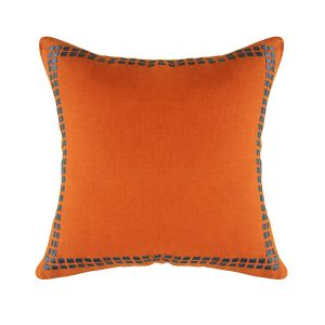 Blueberry Home Linen Fabric Orange Color Cushion Cover (40x40 Cms)