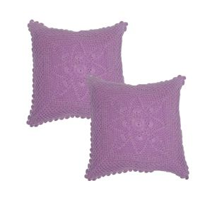 Blueberry Home Purple Color Cotton Fabric Cushion Covers Set Of 02 (40x40 Cms)