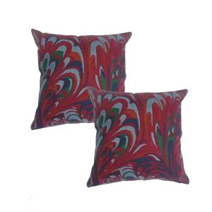 Blueberry Home Maroon Color Cotton Fabric Cushion Covers Set Of 02 (40x40 Cms)