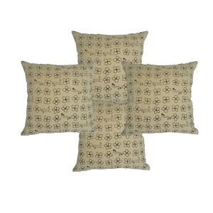 Blueberry Home Cotton Fabric Beige Color Cushion Covers Set Of 4 (40x40 Cms)