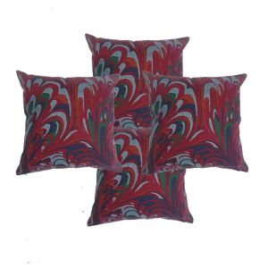 Blueberry Home Cotton Fabric Maroon Color Cushion Covers Set Of 4 (40x40 Cms)