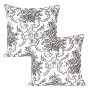 Blueberry Home Grey Color Cotton Fabric Cushion Covers Set Of 02 (40x40 Cms)