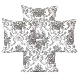 Blueberry Home Cotton Fabric Grey Color Cushion Covers Set Of 4 (40x40 Cms)