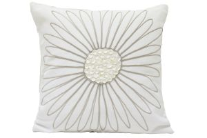 Blueberry Home Cotton Fabric White Color Cushion Cover (40x40 Cms)