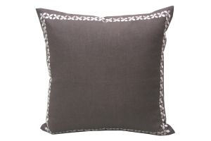 Blueberry Home Linen Fabric Brown Color Cushion Cover (40x40 Cms)