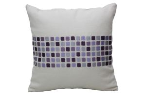Blueberry Home Linen Fabric Purple Color Cushion Cover (40x40 Cms)