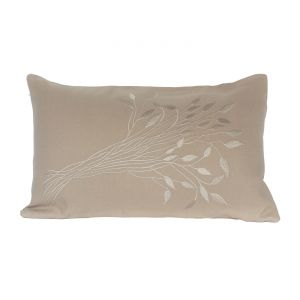 Blueberry Home Cotton Fabric Beige Color Pillow Cover (50x30 Cms)