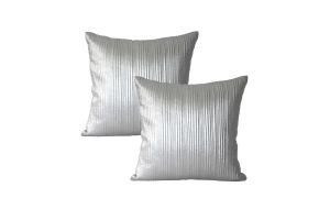 Blueberry Home Cotton Fabric Silver Color Cushion Cover (40x40 Cms)