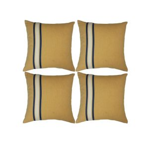 Blueberry Home Cotton Fabric Yellow Color Cushion Covers Set Of 4 (40x40 Cms)