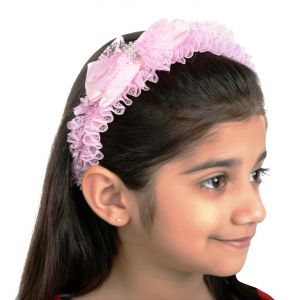 Tara Pink Bow Lace Hair Band