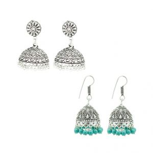 Frabjous German Silver Green And Silver Jhumki Earring Combo For Women (product Code - Fbercmb-36_02)
