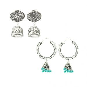 Frabjous German Silver Green And Silver Jhumki Earring Combo For Women (product Code - Fbercmb-35_09)