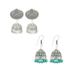 Frabjous German Silver Green And Silver Jhumki Earring Combo For Women (product Code - Fbercmb-02_35)