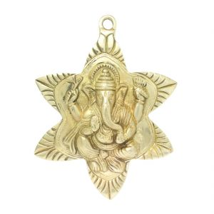 Brass Handicrafts - Brass Ganesha Religious Showpiece Figurine Wall Hanging Handicraft Item