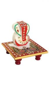 Marble Handicrafts - Marble Enamel Painted Ganesha Placed On Chowki For Festival Gift Item
