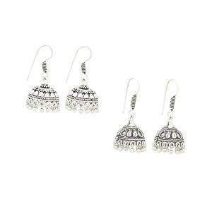 Frabjous Combo Of Silver Ethnic Jhumki Earring (product Code - Fbercmb-01)