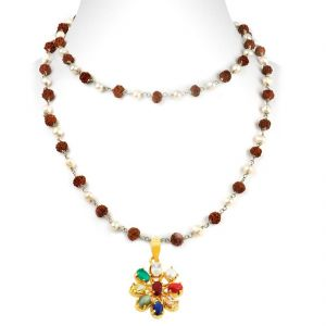 Gemstone Necklaces - NirvanaGems Navratna Necklace With Rudraksha & Pearl in SIlver Wire Chain-NVG-023RF