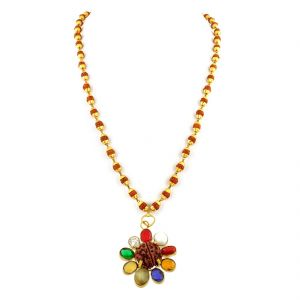 Gemstone Necklaces - NirvanaGems Navratna in Panchdhatu With Rudraksha Beads Necklace-NVG-030RF