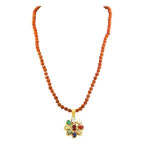 Gemstone Necklaces - NirvanaGems Natural Navratna With Rudraksha Beaded Necklace-NVG-08RF
