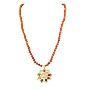 Gemstone Necklaces - NIrvanaGems Astrological Navratna With Rudraksha Beaded Necklace-NVG-09RF